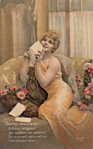 TAIS-TOI, MON COEUR~BEAUTIFUL WOMAN ROMANCE FRENCH~A NOYER PHOTO POSTCARD