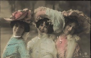 Beautiful Woman Big Hats Tinted & Embossed c1910 Real Photo Postcard