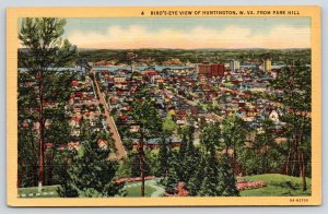 Huntington West Virginia~Homes & Business District from Park Hill~1936 Linen