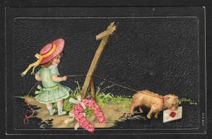 Pink Flower Horseshoe Dog & Girl in Hat Used c1908