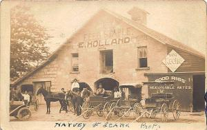 White Horse PA Feed Stable Horse & Wagons Real Photo RPPC Postcard