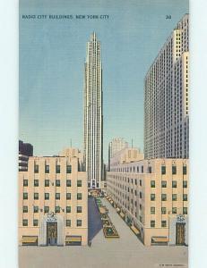 Unused Linen RADIO CITY BUILDINGS New York City NY hn8692