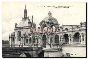 Old Postcard Chantilly Chateau Facade is the Entree and Chapel