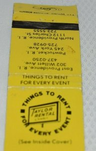 Things to Rent for Every Event Rhode Island 20 Strike Matchbook Cover