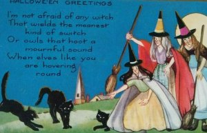 Vintage Halloween Postcard Whitney 3 Witches & 3 Black Cats Original Embossed