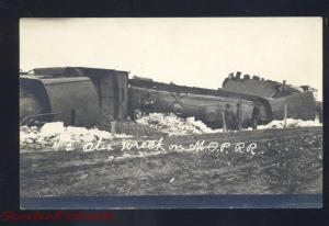 RPPC OTIS KANSAS MISSOURI PACIFIC RAILROAD TRAIN WRECK REAL PHOTO POSTCARD