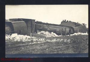 RPPC OTIS KANSAS MISSOURI PACIFIC RAILROAD TRAIN WRECK REAL PHOTO POSTCARD