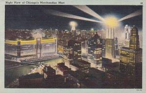 Illinois Chicago Night View Of Chicagos Merchandise Mart
