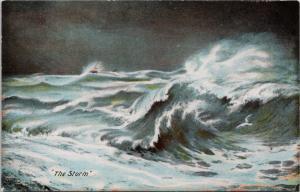 The Storm Ocean Waves Ship Unused Antique Postcard E36
