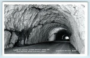 RPPC FEATHER RIVER Highway, CA ~ GRIZZLY DOME TUNNEL c1950s Eastman Postcard