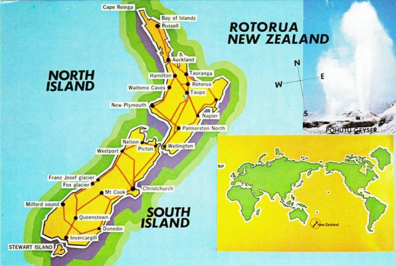 Map , South Island , New Zealand , 50-70s
