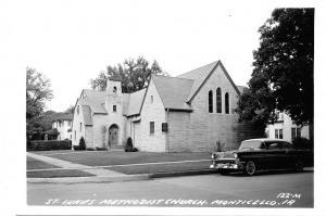 Monticello IA St Luke's Methodist Church~1956 Chevy Sedan~Neighbor~RPPC Postcard