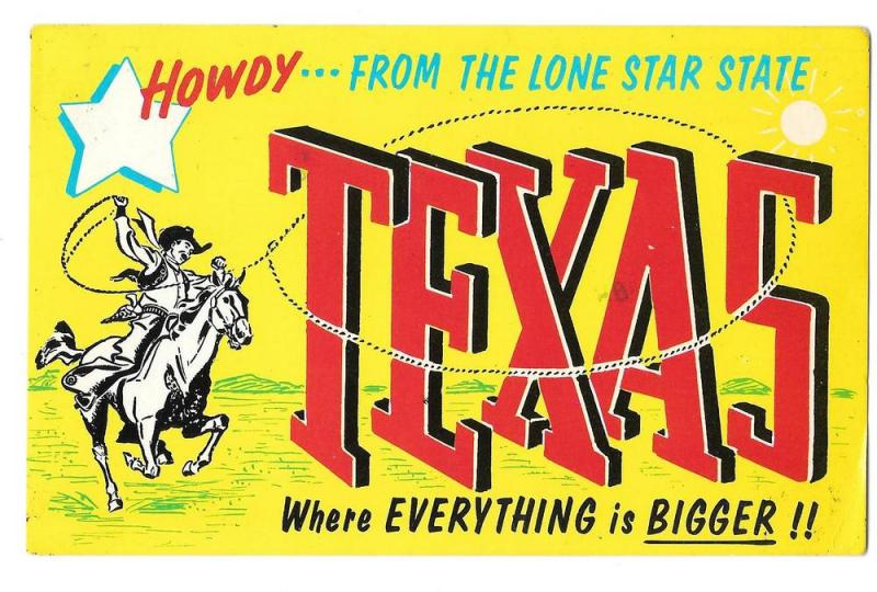 TX Howdy Lone Star State Large Letter Texas Cowboy Greetings