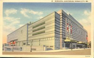 The Municipal Auditorium - Kansas City MO, Missouri - pm 1939 - Linen