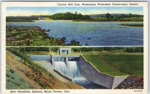 Mount Vernon, Ohio Postcard Charles Mill Dam Muskingum Watershed Linen c1940s