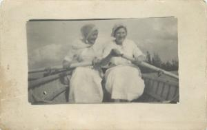 Victorian Ladies in White Laugh~Rowing Boat~Sunbonnet Scarf~ c1914 RPPC