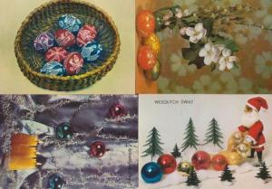 Polish Red Christmas Glitter Balls Card Poland 4x Postcard s