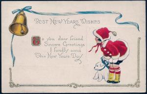 Happy New Year Girl in Red Clothes used c1920's