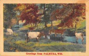 Palmyra Wisconsin Greetings Cows Scenic Vintage Postcard JF686389