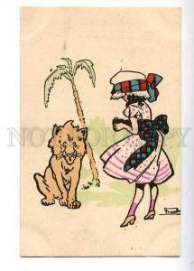 182544 ART NOUVEAU Girl PHOTOGRAPHER & LION Vintage JBB #337-2