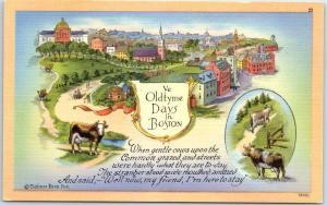 Boston, Massachusetts Postcard Ye Oldtyme Days in BOSTON Linen c1940s Unused