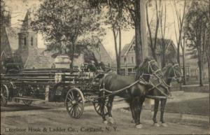 Cortland NY Excelsior Hook & Ladder Fire Engine Horse Drawn c1910 Postcard