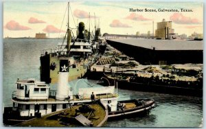 Galveston, Texas Postcard Harbor Scene Fishing Boats at Dock c1910s Unused
