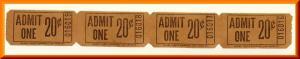 Movie Theatre Tickets, Admit One/20 Cents, 1950's?