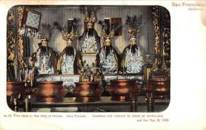 San Francisco California Joss Temple Holy Holies Five Idols Postcard K84043