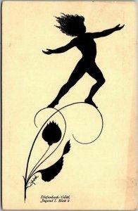 Vintage GERMAN Silhouette Greetings Postcard Fantasy Diefenbach c1910s Unused