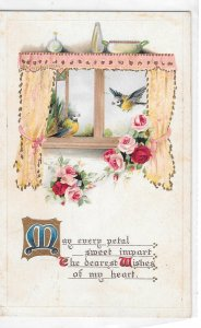Romance Blue Birdsin Window Roses Vintage Embossed 1916 B B London Postcard