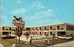 Wildwood NJ~Cardinal Hotel Bird Sign~Father w/ Camera~Family Pic~1950s Cars PC