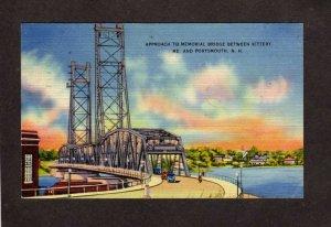NH Memorial Bridge Kittery Maine Portsmouth New Hampshire NH Linen Postcard