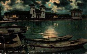 Colorado Denver City Park Lake and Pavilion At Night 1913