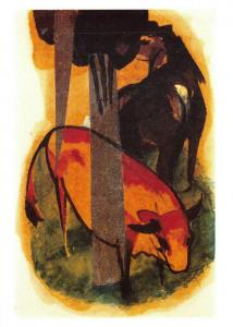 Art Postcard Red Horse and Yellow Cow (1913) by Franz Marc MU1972