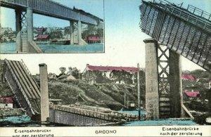 belarus russia, GRODNO HRODNA, Railway Bridge before & after Destruction (1910s)