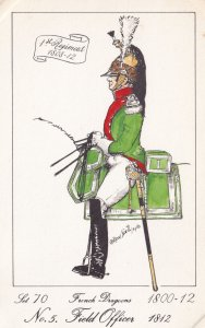 French Dragoon Field Officer Soldier Napoleonic War Uniform PB Rare Postcard