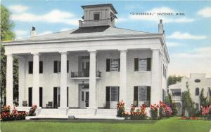 Natchez Mississippi~D'Evereux House~Tall Columns~Chairs @ Porch~Info Bk~Postcard