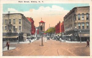 Elmira New York~Main Street~Policeman in Tower in Middle of Street~1928 Postcard