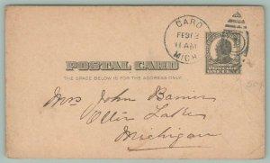 Ellis Lake Michigan~Nice Complete 1910 Postmark~Football Cancel #1 Postal~Bamin