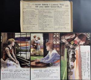 WW1 Bamforth Song Cards NEVER NEW I LOVED YOU Original Envelope Set of 3 No.5028