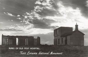 Fort Laramie National Monument Wyoming~Old Post Hospital Ruins~Sunset~1940s RPPC