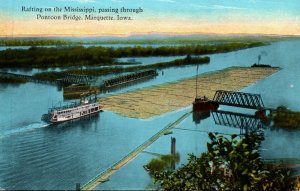 Iowa Marquette Rafting On The Mississippi Passing Through Pontoon Bridge Curt...
