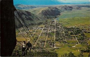 Jackson Wyoming~Birdseye From Snow King Mountain Chair Lift~1950s Postcard