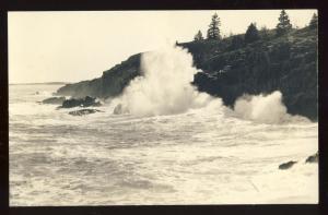 Mt Desert Island, Maine/ME Postcard, Surf At Sea Cliff Drive