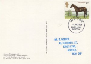 Norfolk Thoroughbred Horse First Day Cover Postcard