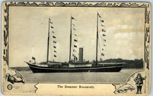 1909 North Pole Exploration Postcard No 3 - The Steamer Roosevelt Kawin & Co.