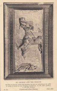 St George & The Dragon Slate Mural Victoria & Albert Museum Exhibit Old Postcard