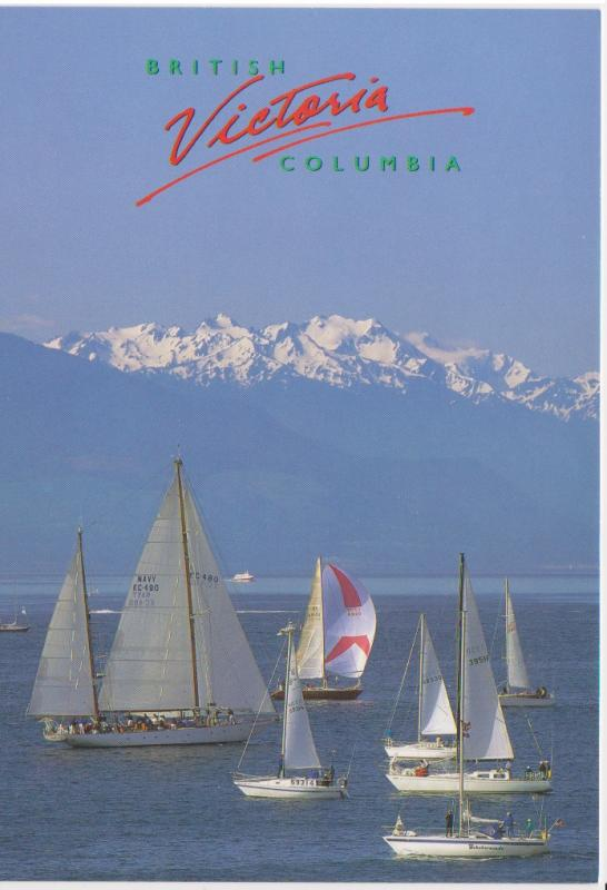 SAILBOATS AND HMCS ORIOLE OFF OLYMPIC MOUNTAINS