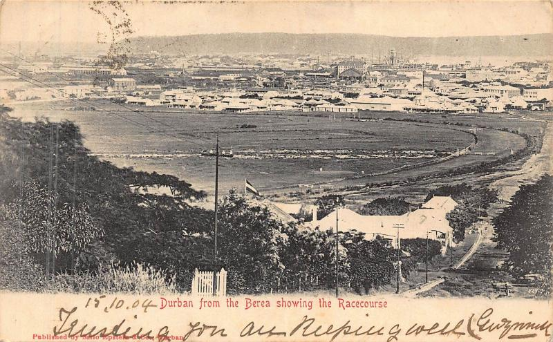 South Africa Durban from the Berea showing Race course postcard